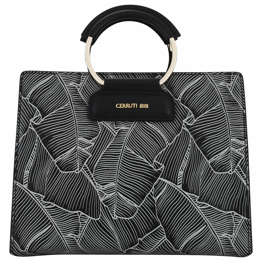 Черная женская сумка с принтом Cerruti 1881 Flora